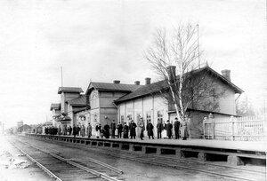 Публика и пограничная стража ждут прибытия поезда на станции Белоостров.
