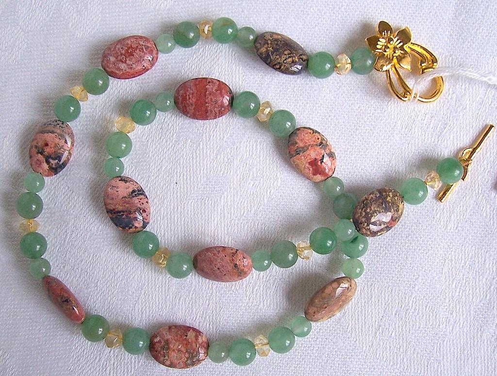 leopard skin jasper,aventurine,citrine,necklace