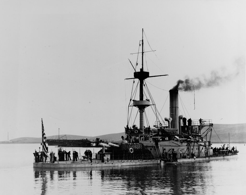 USS Monadnock (Monitor # 3). Off the Mare Island Navy Yard, California, in June 1898, ready for her voyage to the Philippines. The old monitor USS Camanche is visible beyond Monadnock's after gun turret