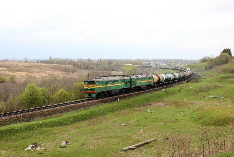 2ТЭ116 на перегоне Зубцов - Бартенево