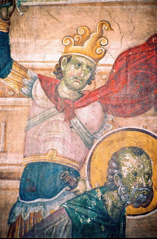 Мученичество Святого Лонгина Сотника. Фреска монастыря Грачаница, Косово, Сербия. Около 1320 года. Фрагмент.