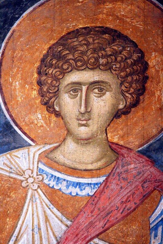 Святой Великомученик Георгий Победоносец. Фреска монастыря Высокие Дечаны, Косово, Сербия. Около 1350 года.
