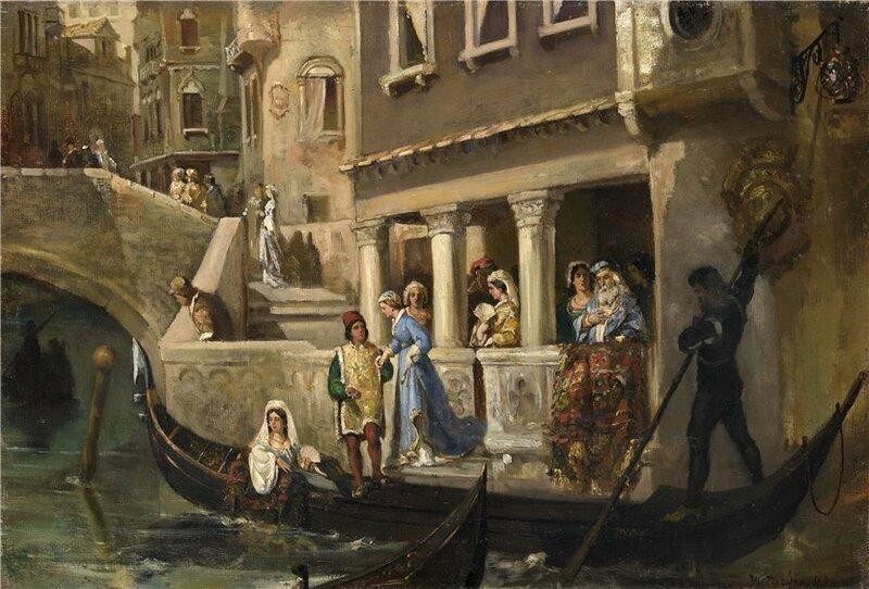 Знатные венецианцы у гондолы