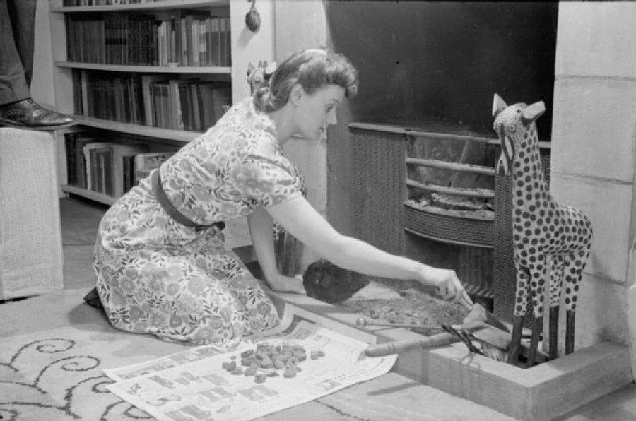 13. Оливия чистит решетку в гостиной. Она осторожно собирает золу, так как зола может быть повторно использована в саду в качестве удобрения