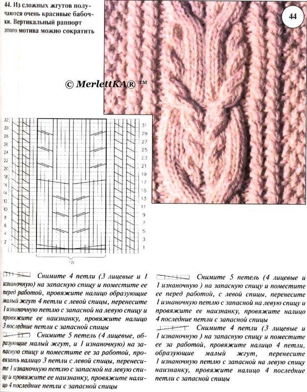 Описание вязания узора косы жгуты араны с описанием схем
