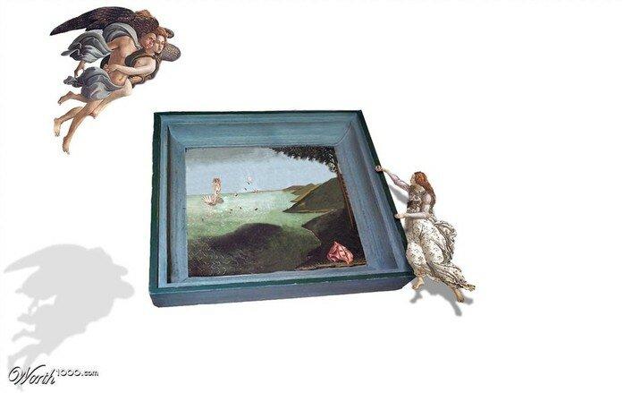 Out of bounds (За пределы рамки). Конкурс фотомонтажа с известными картинами