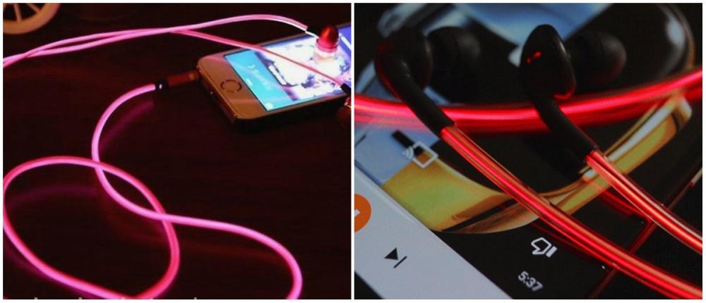 Наушники The Glow Laser светятся втемноте, улавливая ритм композиции, проигрываемой вплеере, атак