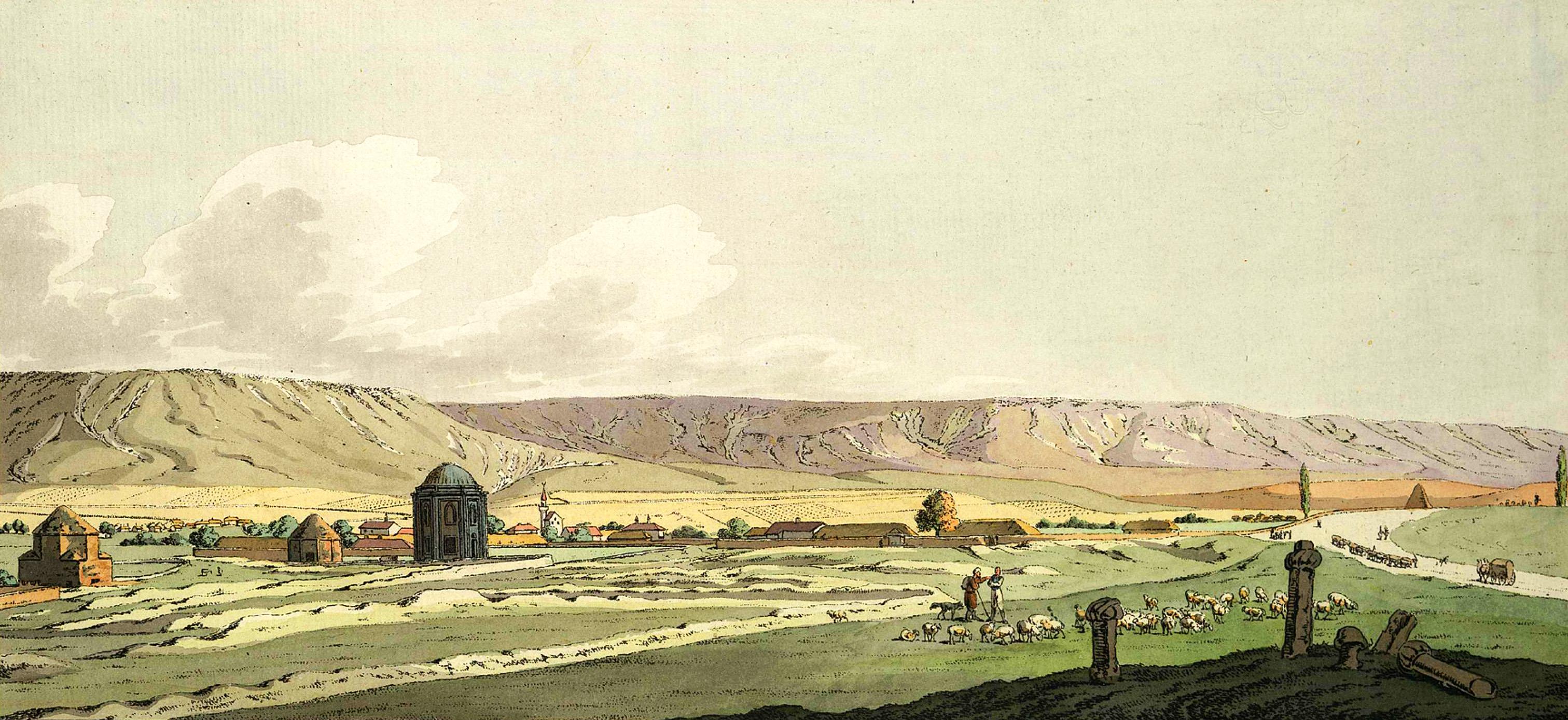 2-3. Вид Эски-Юрта и древних гробниц близ деревни того же имени, ниже Бахчисарая. На переднем плане видны татарские надгробные камни; на мужских могилах — тюрбан. В самом большом здании, называемом Азиз, погребена дочь персидского шаха, бывшая замужем за