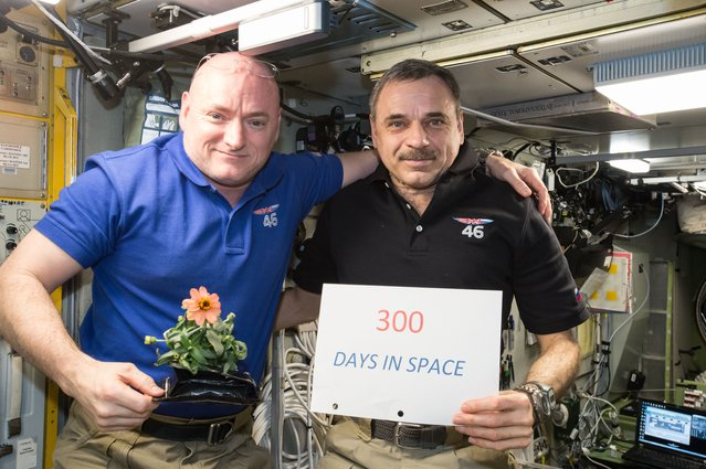 One-year mission crew members Scott Kelly of NASA (left) and Mikhail Kornienko of Roscosmos (right)