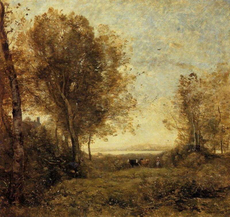 Жан Батист Камиль Коро, Утро, женщина пасёт коров, 1860 г.