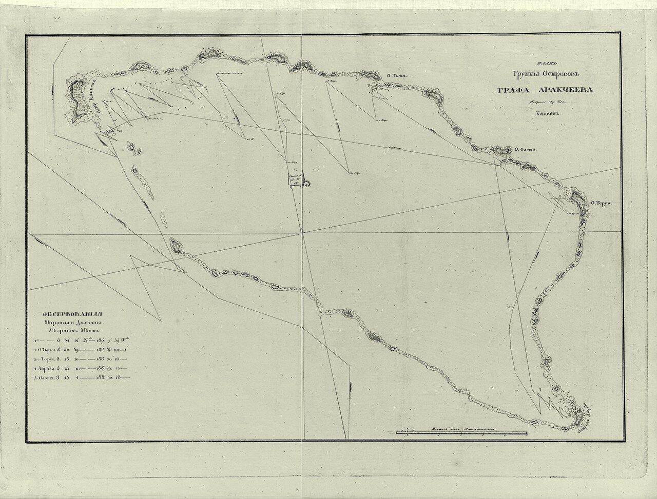 15. План группы островов Графа Аракчеева. Февраля 1817 года.