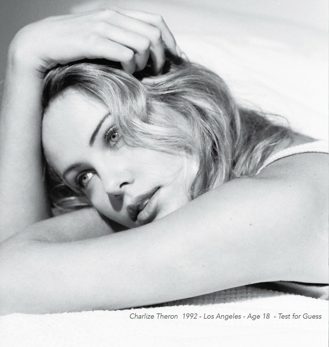 Portraits of 18 year old Charlize Theron for a Guess Jeans test. Taken in Topanga Canyon in 1992 by Mark Humphrey.
