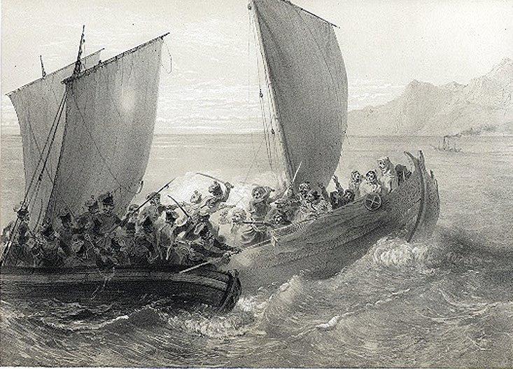 Азовские казаки атакуют турецких пиратов. Картина Григория Гагарина 1847 года.jpg