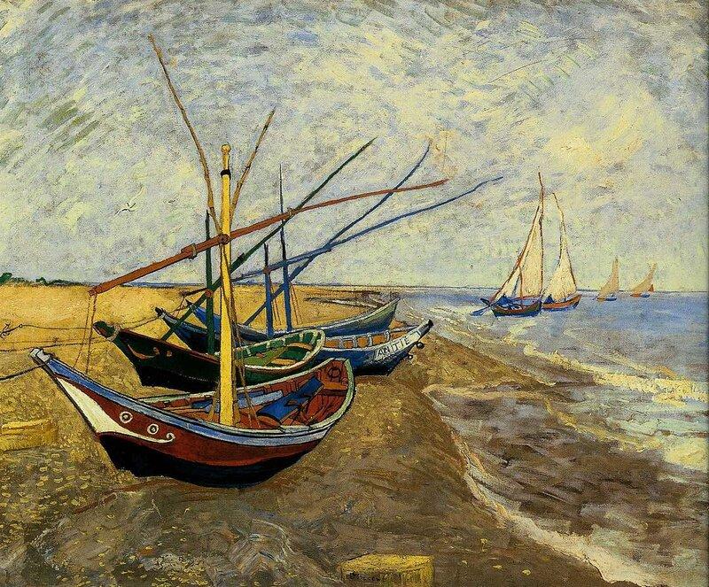 картина ван гога лодки в сен-мари