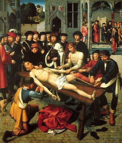 """Герард Давид """"Сдирание кожи с продажного судьи"""" 1498-1499 Холст, масло Bruges, Groenige Museum"""