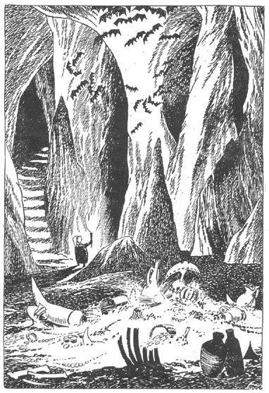 Иллюстрация Туве Янссон к Хоббиту Толкиена (Бильбо в сокровищнице)