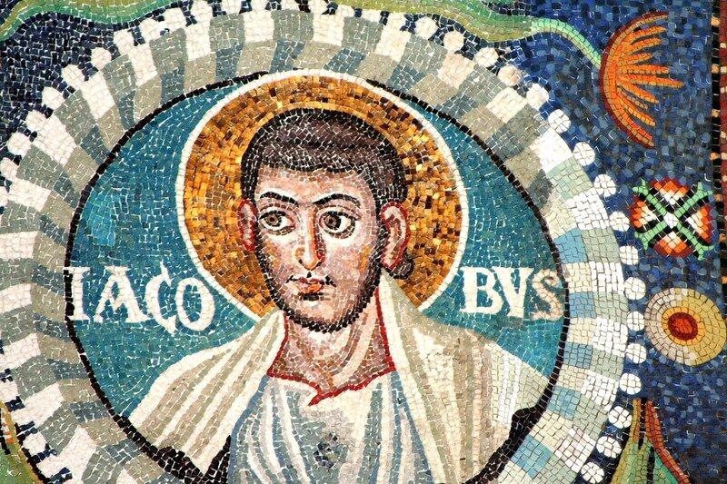 Святой Апостол Иаков Алфеев. Византийская мозаика VI века в церкви Сан Витале в Равенне.