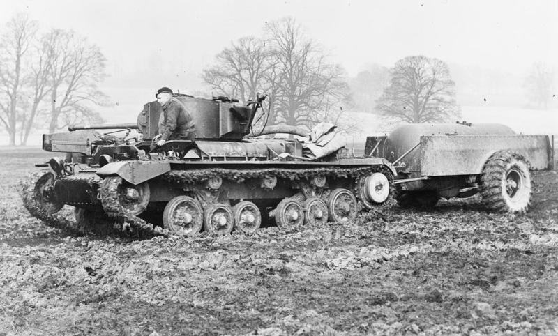 Valentine flamethrower tank with gas-operated equipment.
