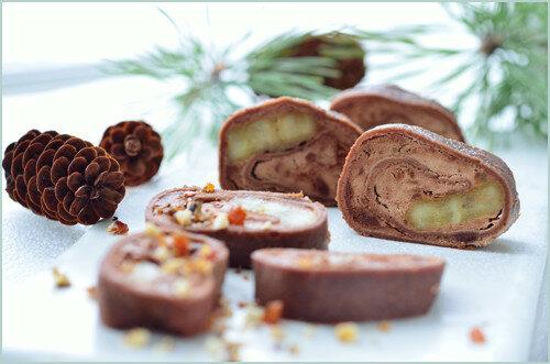 Рулеты из шоколадных блинчиков с начинкой из шоколадного мусса и карамелизованных бананов 0_147223_9b197155_L