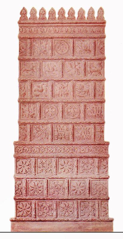 Печь, облицованная широкорамочными красными изразцами конца 16- перв. пол. 17 века. Московское производство. Реконструкция С. Маслиха