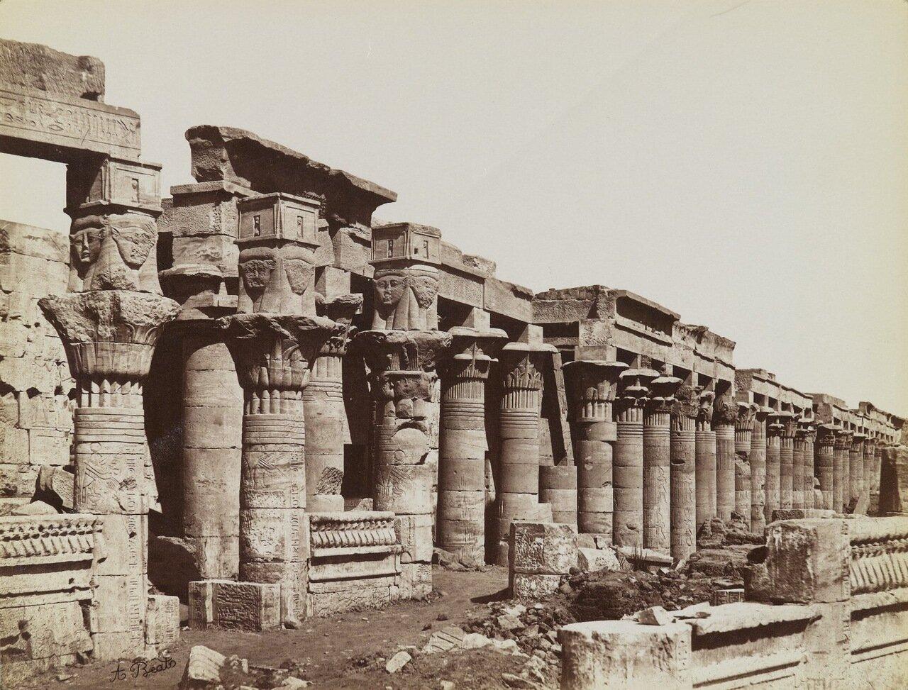 Филе (Вид с юго-востока на Западную колоннаду в храме Исиды)