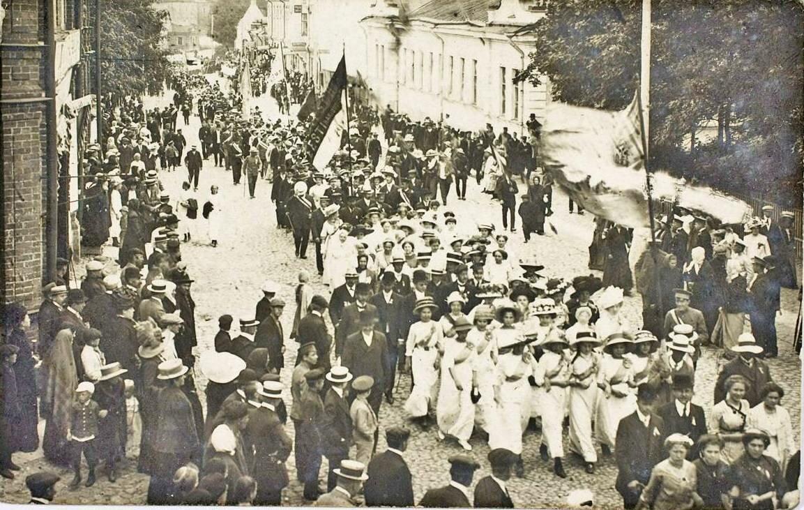 Шествие коллективов во время Первого певческого праздника Эстонских поселений 1912