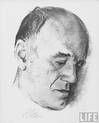 Drawing of pianist Sviatoslav Richter, done by Jules Fehr