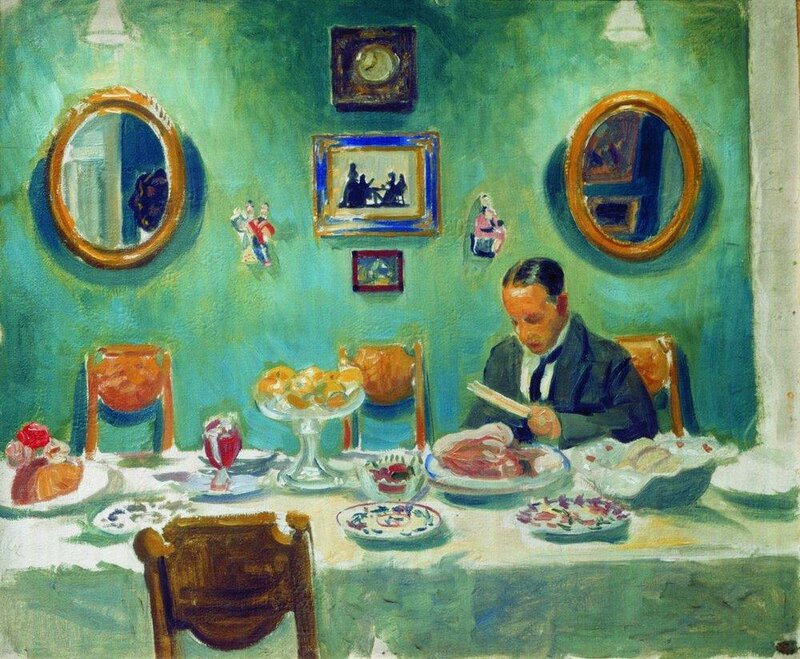 Кустодиев. Портрет М. Добужинского за столом.