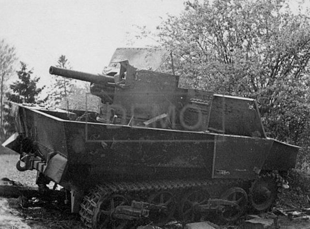Брошенная 47-мм бельгийская САУ T13B2.