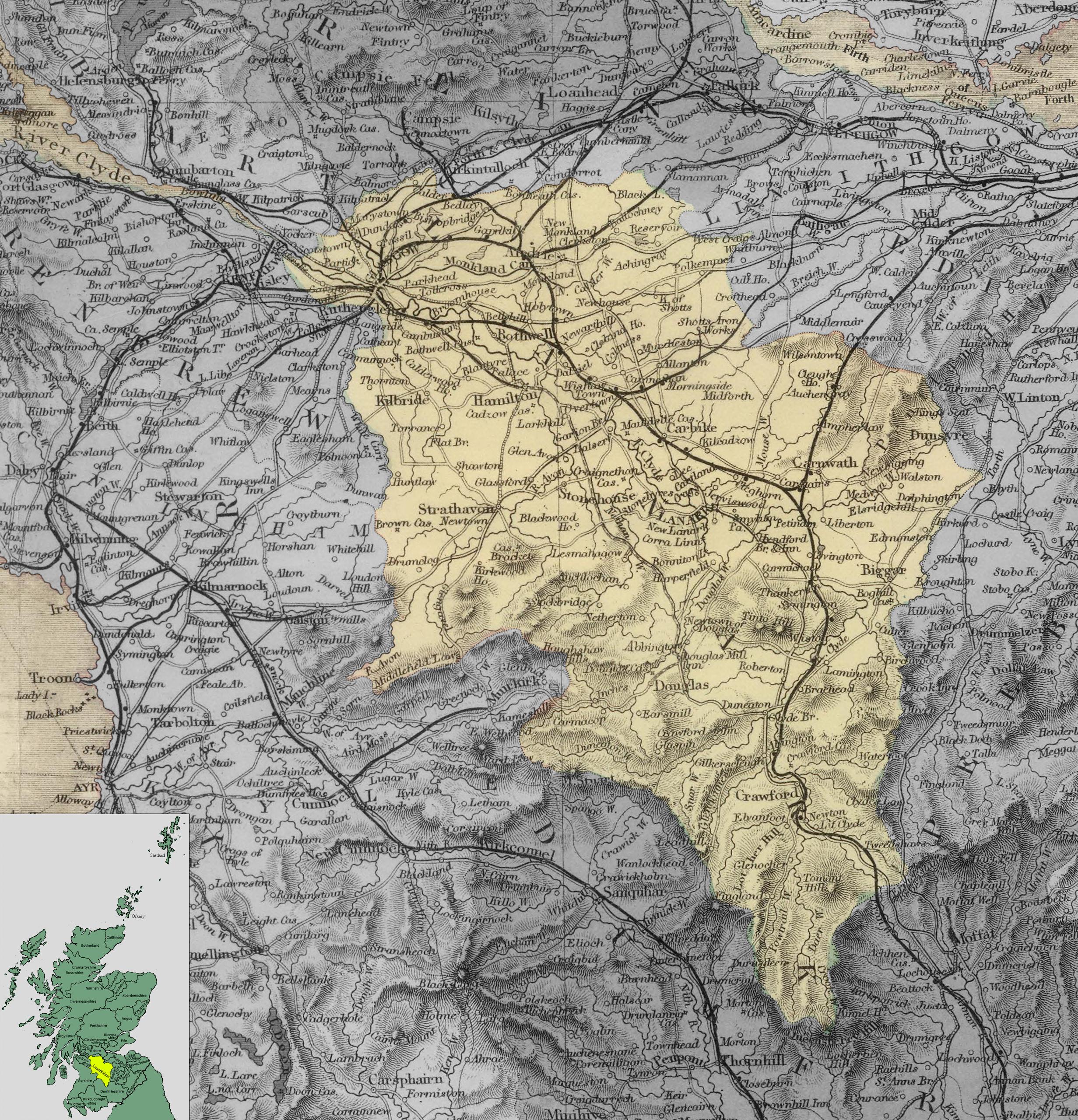 Карта Ланаркшира
