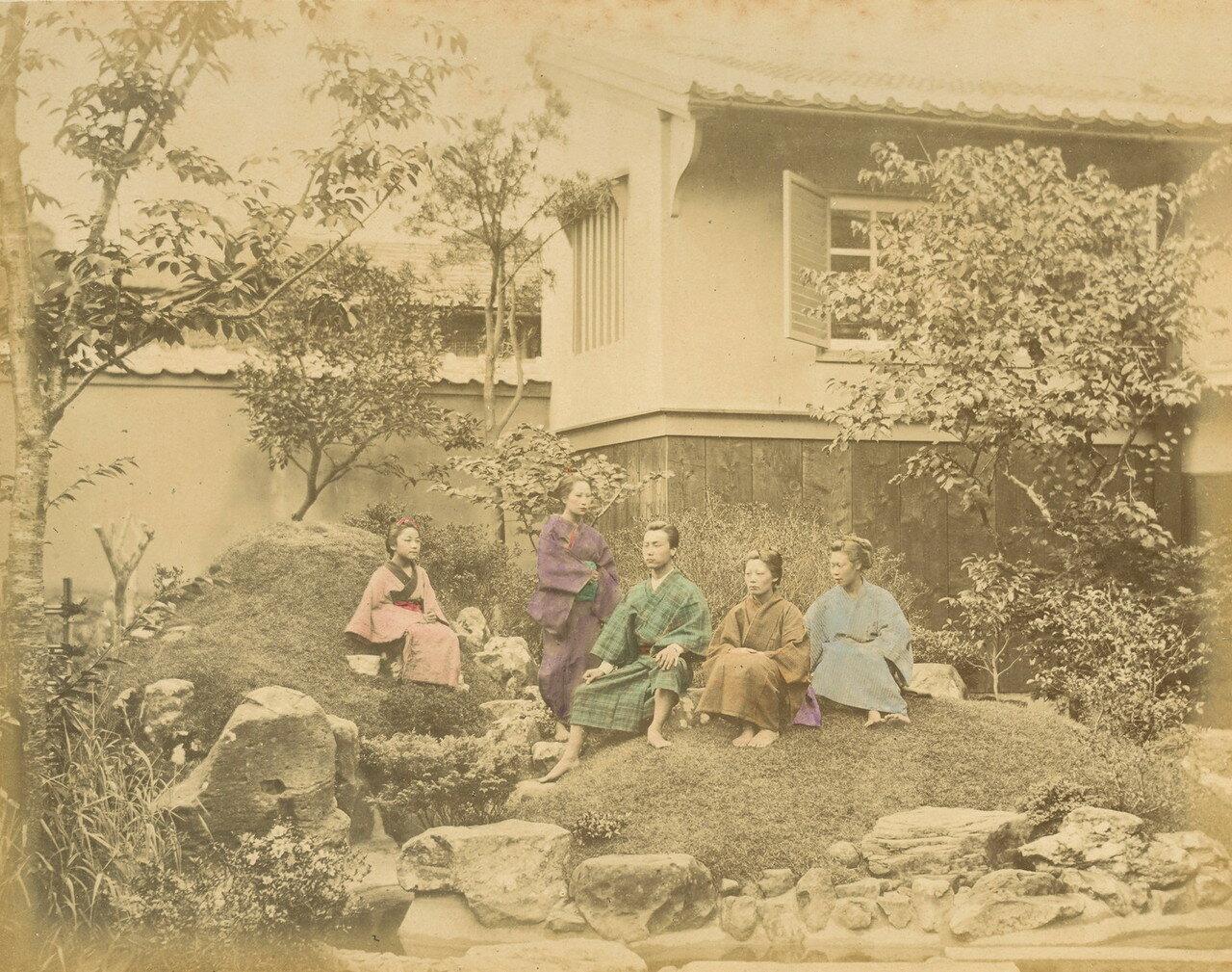 Семья в саду, 1875
