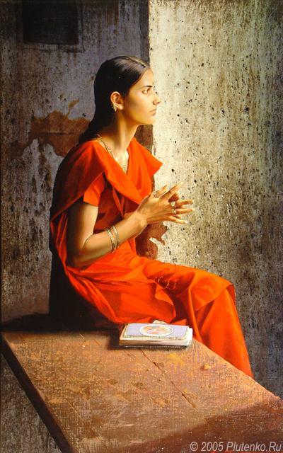 Девушка в красном сари