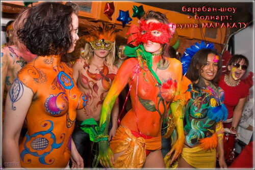 бодиарт + барабан-шоу: Маракату́ в клубе АртеФак