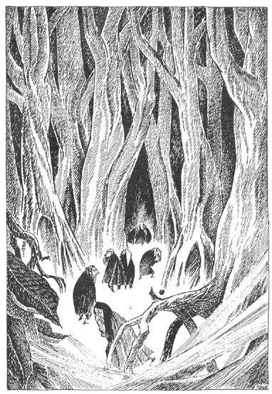 Иллюстрация Туве Янссон к Хоббиту Толкиена (Чёрный Лес)