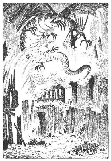 Иллюстрация Туве Янссон к Хоббиту Толкиена (Смог разрушает Озёрный город)