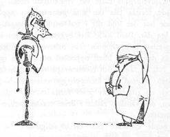 Иллюстрация Туве Янссон к Хоббиту Толкиена (Бильбо с доспехами)