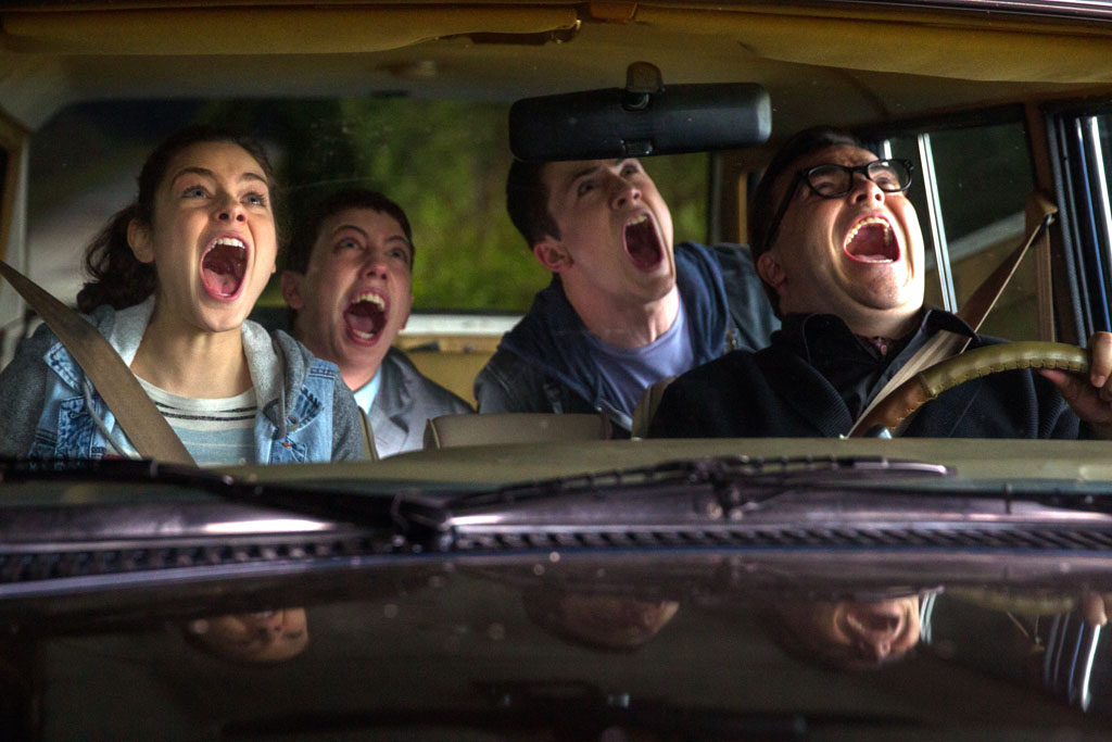 "L-r, Odeya Rush, Ryan Lee, Dylan Minette and Jack Black star in Columbia Pictures' ""Goosebumps."" - Goosebumps"