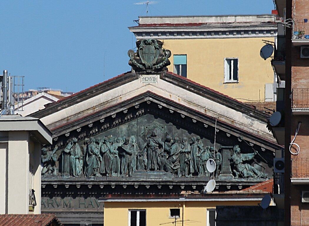 Naples. The pediment of the University.