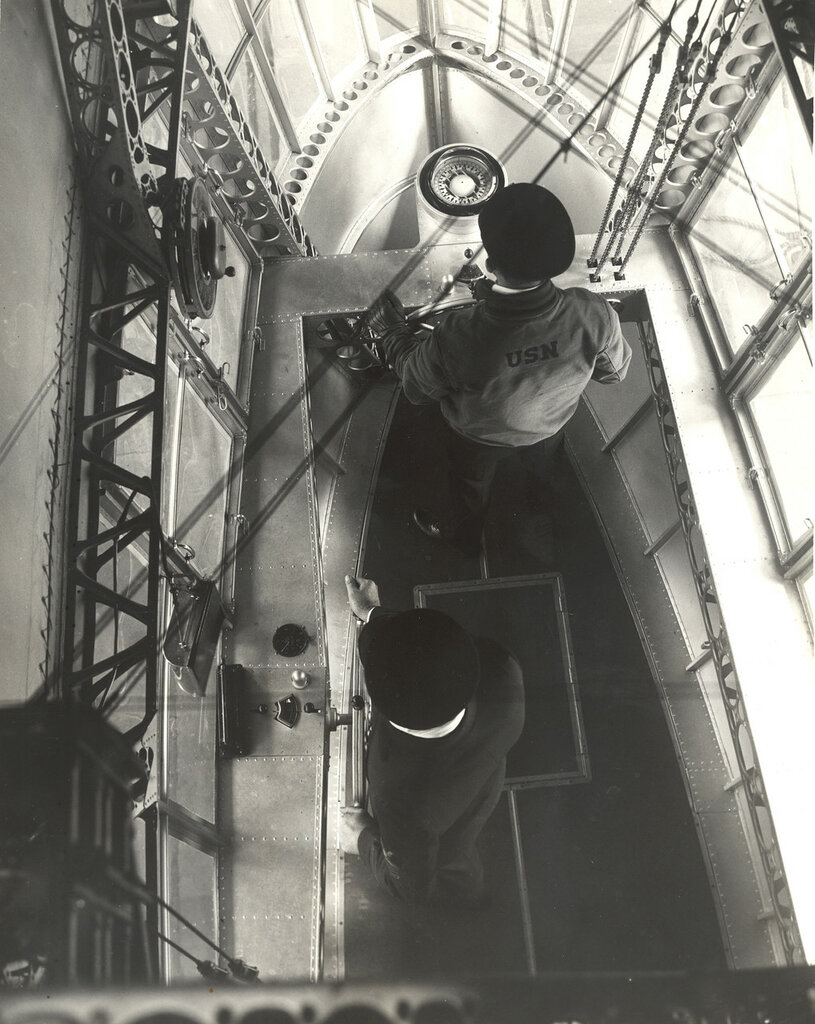 Looking Down in Emergency Control Station of a Dirigible
