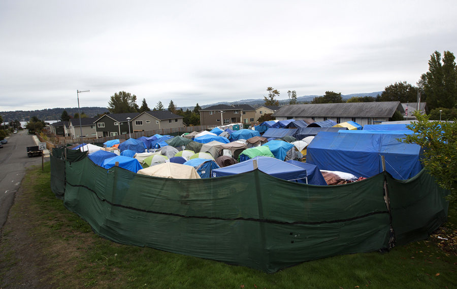 Tents stand at SHARE/WHEEL Tent City 3 outside of Seattle on October 12, 2015.