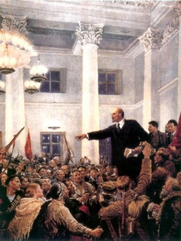 Провозглашение Советской власти. Это оригинальная картина, на редактуре времен Хрущева Сталина замазали..jpeg