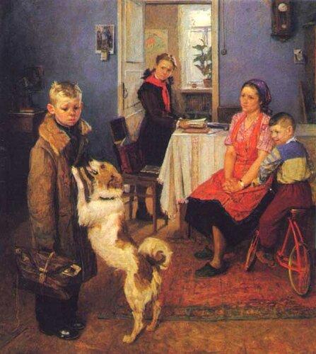 Решетников, Фёдор Павлович. Опять двойка, холст, масло, 1952.