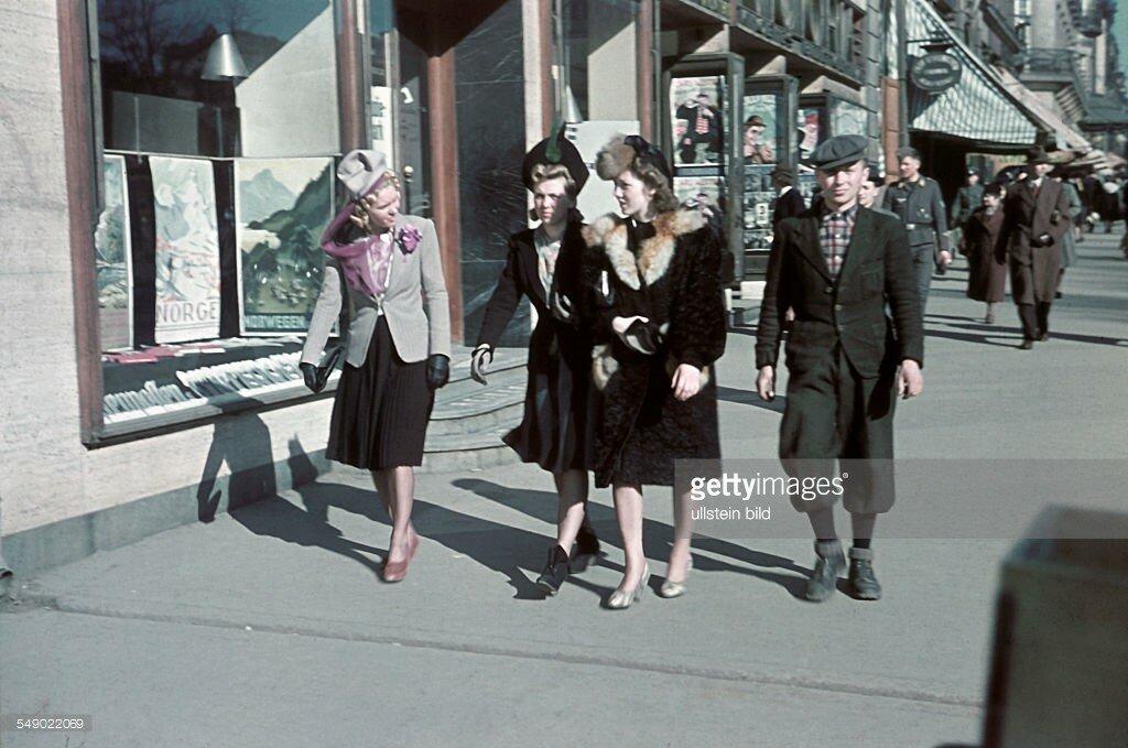 1941 World war, Norway under gernan occupation Street scene in Oslo.jpg