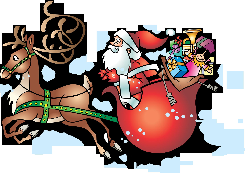 Дед мороз в санях пнг