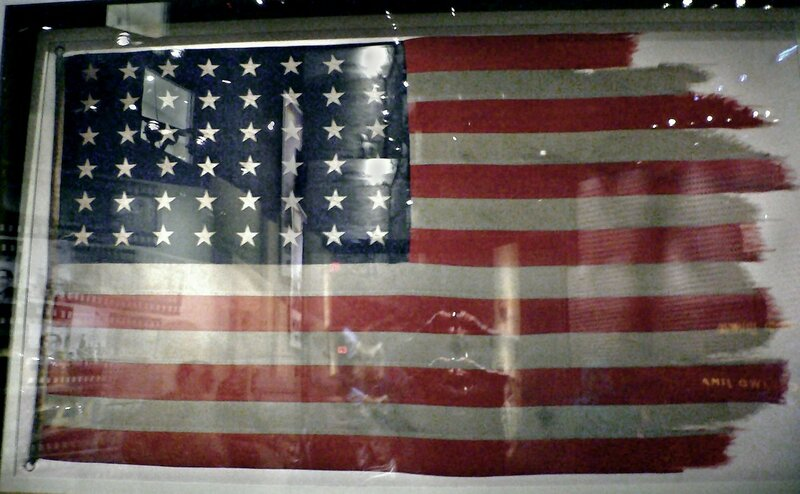 The flags from the first and second flag-raisings are conserved in the National Museum of the Marine Corps