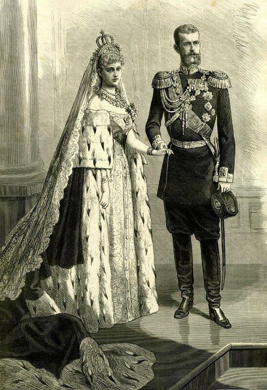 Брож, К. Великий князь Сергей Александрович с невестой Елизаветой Федоровной. Гравюра на дереве.