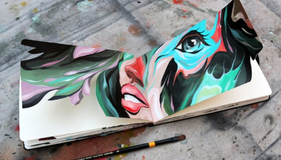 Beautiful Moleskine Transformed in Artworks by Dominic Damien