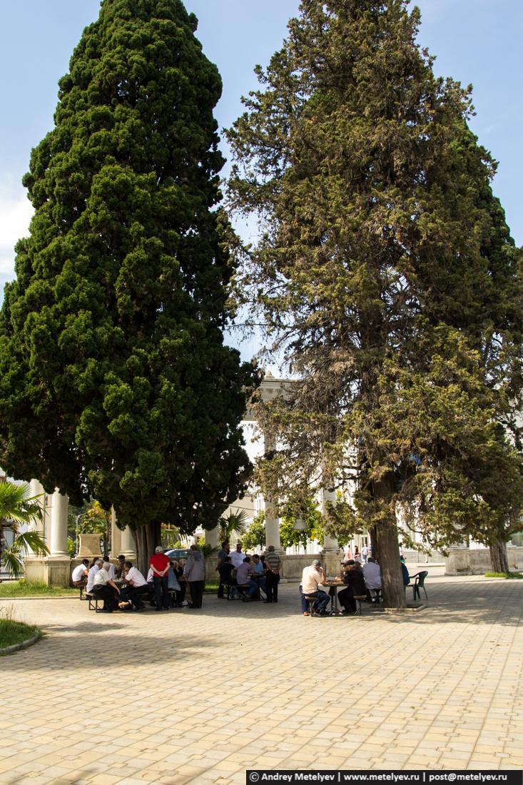 Под деревьями играют в шахматы, шашки и нарды