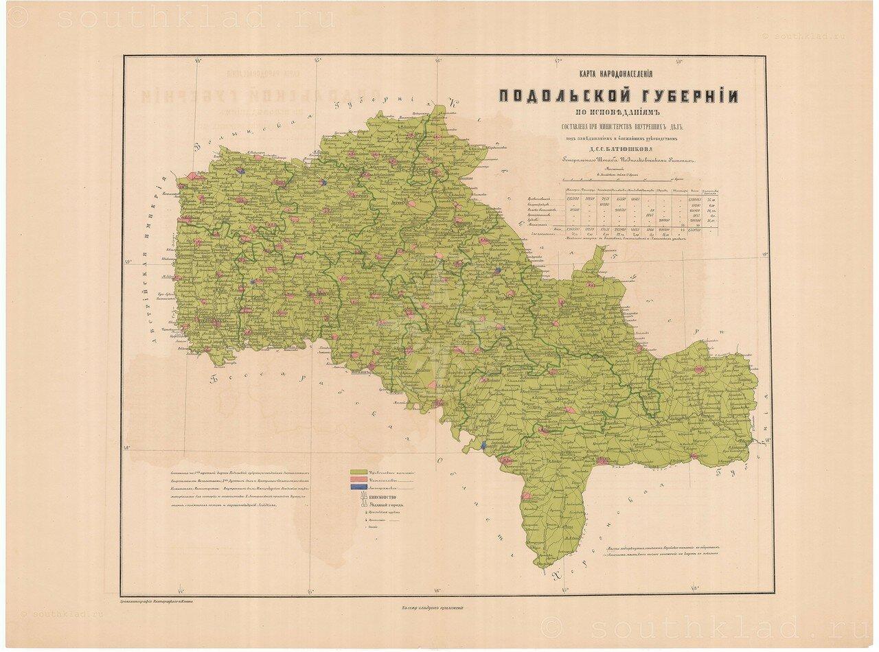 07. Карта народонаселения Подольской губернии по исповеданиям