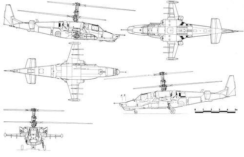 Вертолет Ка-50 является одноместным двухдвигательным вертолетом соосной схемы с трехопорным убирающимся шасси.